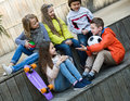 Junior kids chatting outdoor Royalty Free Stock Photo
