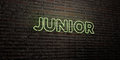 JUNIOR -Realistic Neon Sign on Brick Wall background - 3D rendered royalty free stock image
