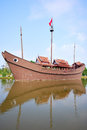 Junk boat at ancient siam thailand Stock Photo