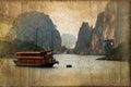 Junk boats in halong bay vietnam vintage sepia process dark Royalty Free Stock Photo