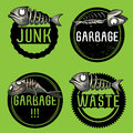 Junk fish restaurant leftovers design illustration set of Stock Images