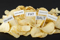 Junk food concept potato chips and flags showing unhealthy ingredients Stock Photography