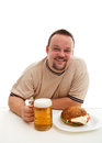Junk food consumer happiness the bliss of ignorance happy with hamburger and beer Royalty Free Stock Image