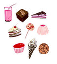 Junk food and dessert icons Royalty Free Stock Images