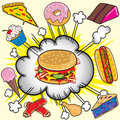 Junk food Explosion Stock Images