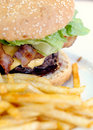 Junk food hamburger and french fries Royalty Free Stock Photos