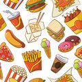 Junk Food Seamless Pattern Royalty Free Stock Photos