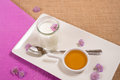 Junket for breakfast served with honey a healthy Stock Images