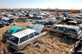 Junkyard wagons Royalty Free Stock Photos