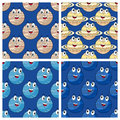 Jupiter saturn uranus neptune seamless four cartoon patterns with and isolated on blue background eps file available Royalty Free Stock Photo