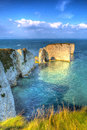 Jurassic Coast chalk stacks Old Harry Rocks Dorset England UK east of Studland like a painting Royalty Free Stock Photo