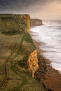 Jurassic coast this is dorset s east of west bay being battered by an autumnal storm Royalty Free Stock Photos