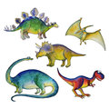 Jurassic period dinosaurs set watercolor style