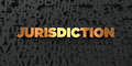 Jurisdiction - Gold text on black background - 3D rendered royalty free stock picture Royalty Free Stock Photo