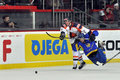 Jurryt smid knocks down roman blagy during the world cup match between hockey teams of the netherlands and ukraine division i Royalty Free Stock Images