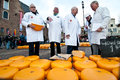 The jury at cheese market in alkmaar north holland netherlands Royalty Free Stock Images