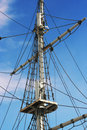 Jury-masts and rope of sailing ship Royalty Free Stock Image