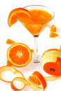 Jus d'orange d'isolement sur le blanc Photo stock