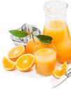 Jus et oranges d orange Images stock