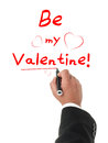 Just be my valentine elegant hand writing and drawing heart shapes all isolated on white background Stock Photography