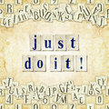 Just do it seamless background with letters linux libertine fonts used in the image gpl and ofl license Royalty Free Stock Images