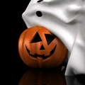Just joking halloween pumpkin is hiding under ghost blanket Royalty Free Stock Images