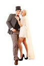 Just married ardent wedding couple a full length portrait Stock Photo