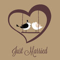Just married birds on special brown background Stock Images