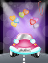 Just married car illustration of Stock Image