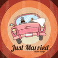 Just married car over grunge background vector illustration Stock Photography