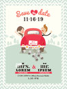 Just married car wedding invitation design Royalty Free Stock Photo
