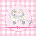Just married cartoon over pink background vector illustration Royalty Free Stock Image