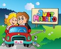Just married couple driving car Stock Images
