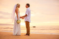 Just married couple holding hands on the beach at sunset hawaii wedding Royalty Free Stock Photos