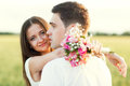 Just married couple hugging and smiling Stock Images