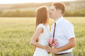 Just married couple kissing on the sunset in the field Royalty Free Stock Photos