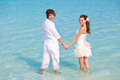 Just married couple in the sea Royalty Free Stock Image