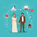 Just married couple with wedding attributes concept vector illustration.