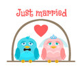 Just married. Cute birds - the bride and groom. greeting card. Royalty Free Stock Photo