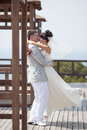 Just married in day of them wedding newly wedded couple the park Stock Image