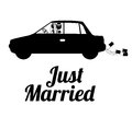 Just married design over white background vector illustration Royalty Free Stock Photo