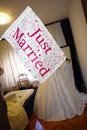 Just married flag in a bride s bedroom Stock Photo