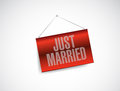 Just married hanging banner sign illustration design over white Royalty Free Stock Photo