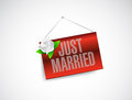 Just married hanging banner sign illustration design over white Stock Image