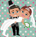 Just married happy couple illustration featuring cartoon groom with high hat carrying bride with bouquet of white roses holding Stock Photo