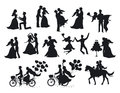 Just married , newlyweds, bride and groom silhouettes set.