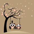 Just married owls on special brown background Royalty Free Stock Image