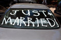 Just married sign on back car Stock Photo