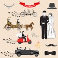 Just married vector illustration of design set Royalty Free Stock Image