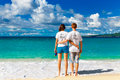 Just married young happy loving couple having fun on the tropica Royalty Free Stock Photo